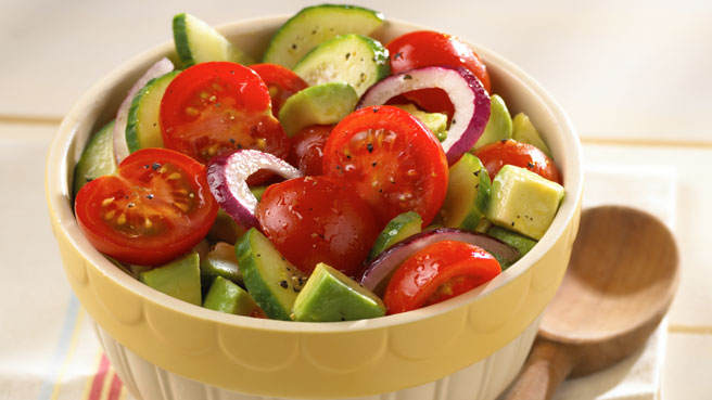 ... Tomatoes, avocado, cucumbers and a little red onion to make this salad