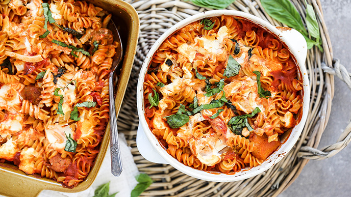 Baked Pasta with Tomatoes, Sausage, Fennel, and Spinach