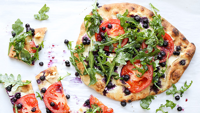 Blueberry, Tomato and Goat Cheese Naan Pizza