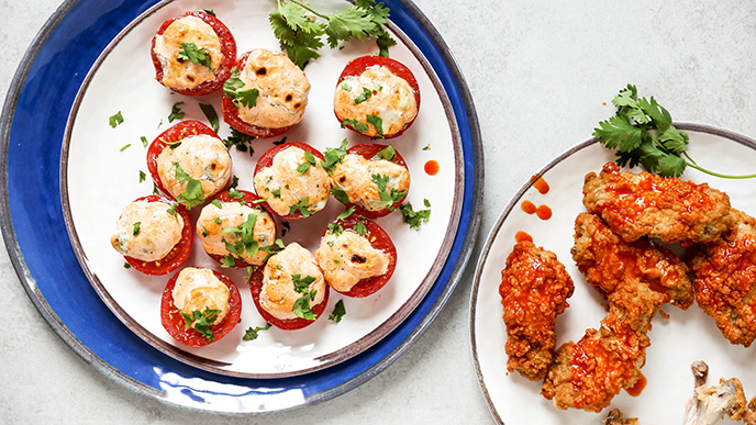 Spicy Broiled Blue Cheese Tomato Bites