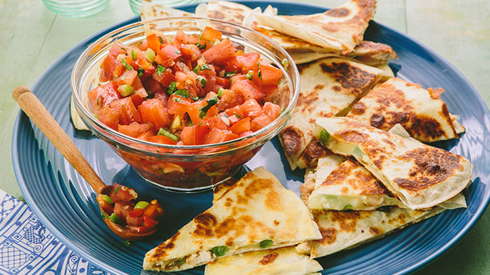 Quick Quesadilla with Backyard Farms Zippy Tomato Salsa