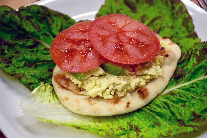Open-Face Backyard Farms Beefsteak Tomato and Egg Salad Sandwich
