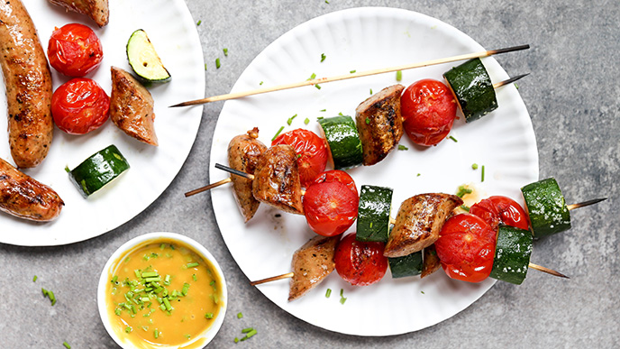 Grilled Tomato, Zucchini and Sausage Skewers with Honey Mustard Dipping Sauce