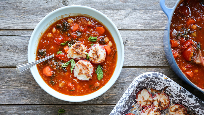 Gluten-Free Minestrone Soup with Cheesy Broiled Tomatoes