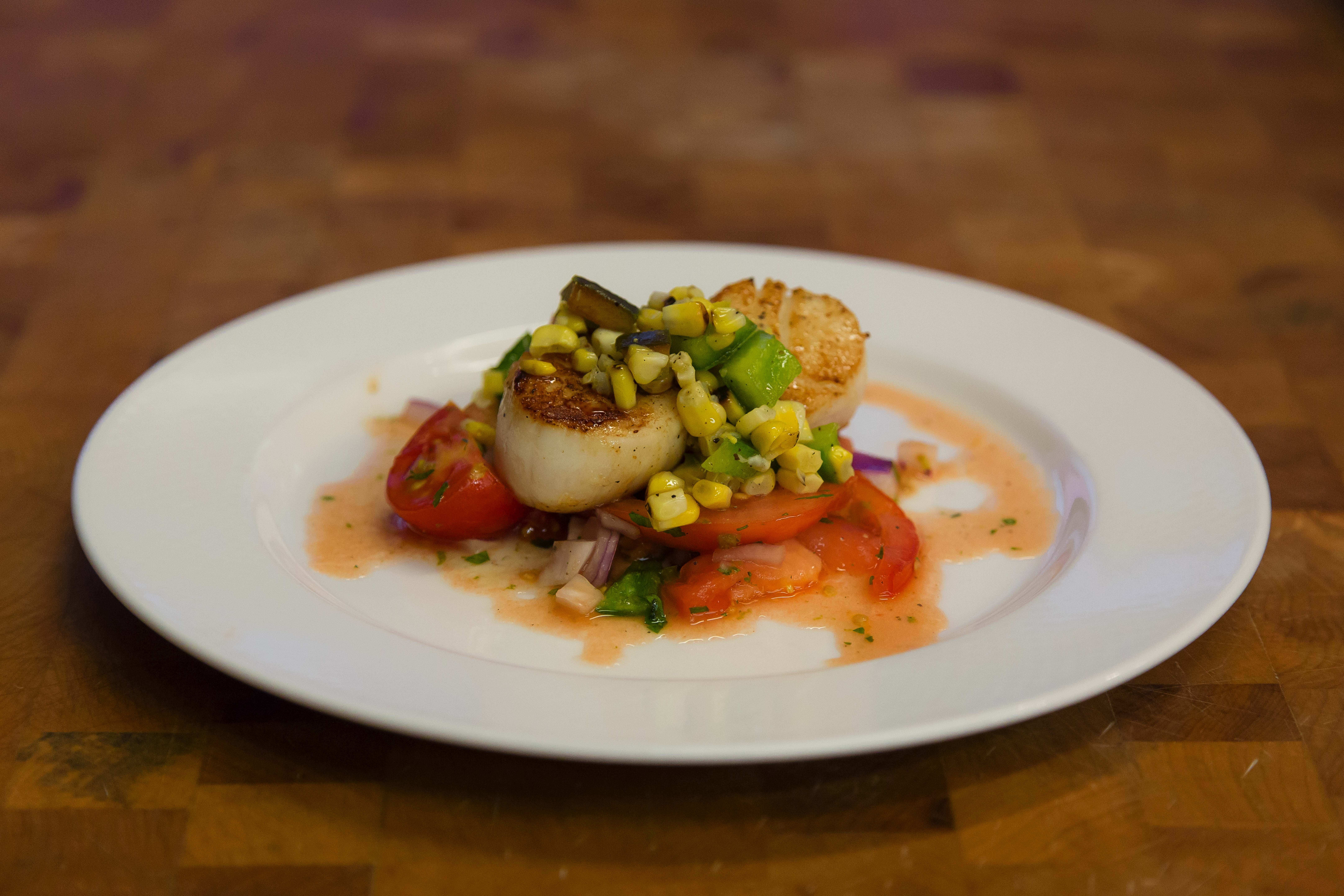 Tomato Ceviche with Pan-Roasted Scallops, Char-Grilled Corn, and Pepper Salsa