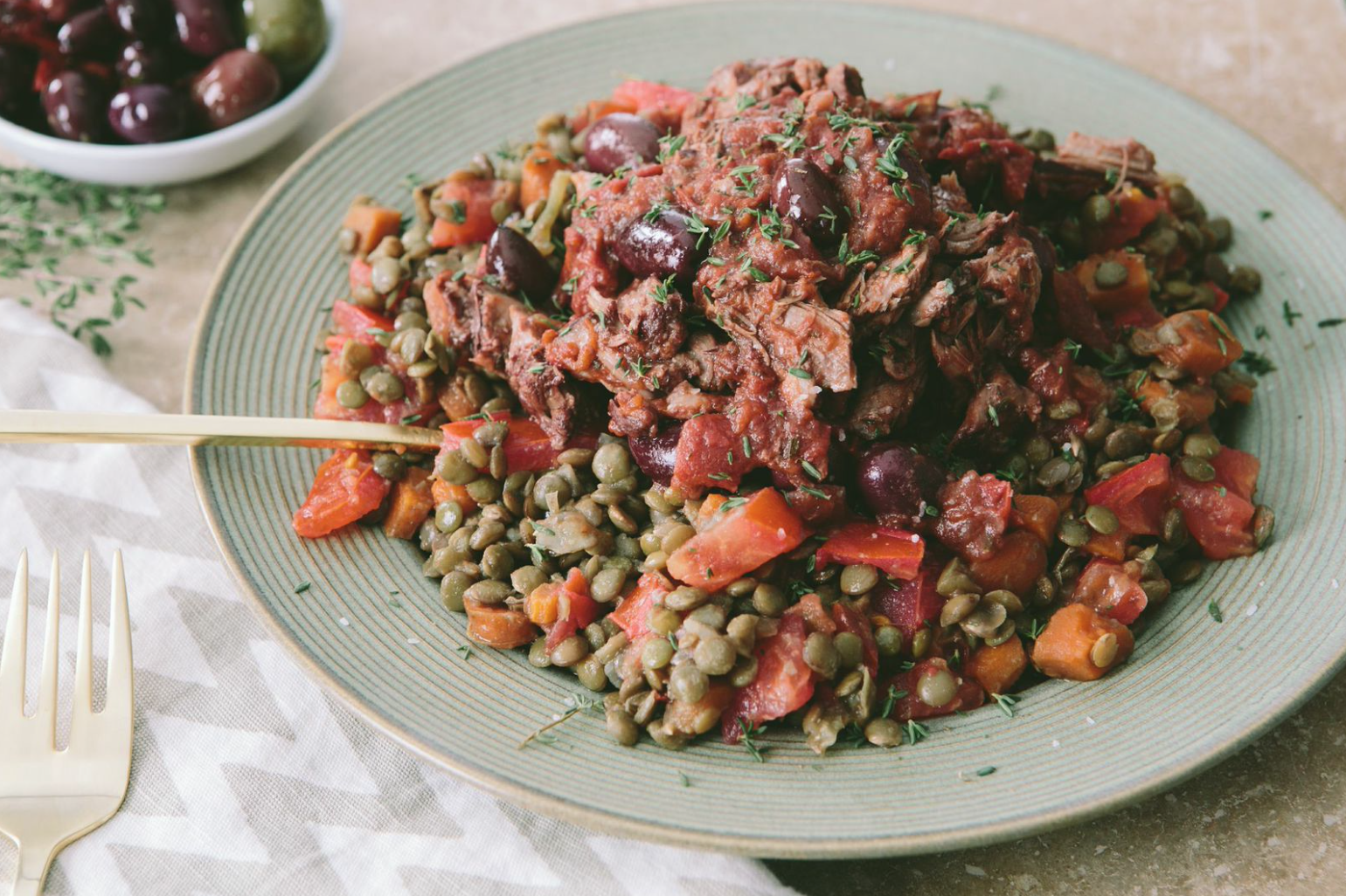 Slow Braised Lamb with Tomatoes and Lentils