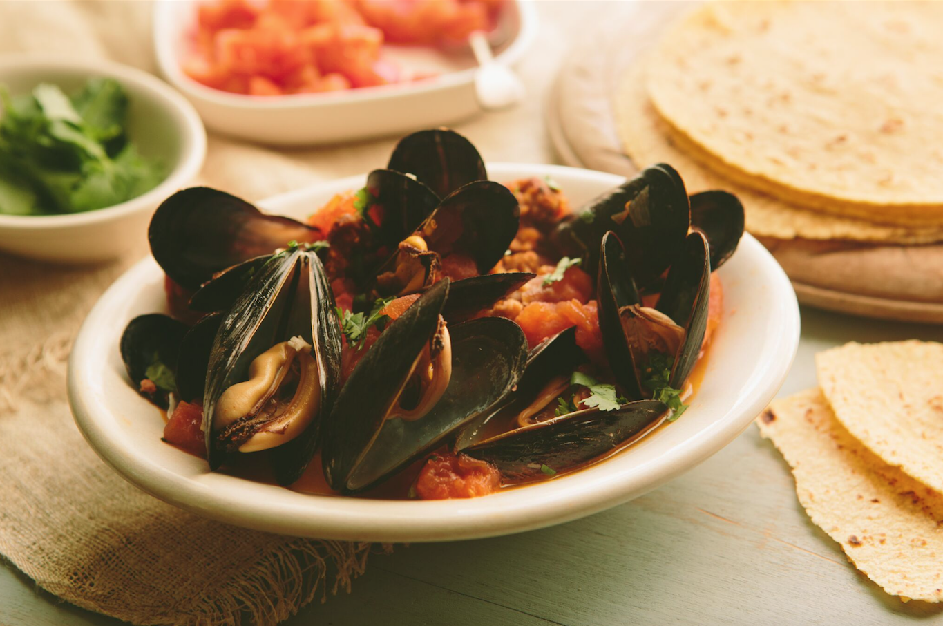 Mussels With Tomatoes, Jalapeno And Tequila Recipes — Dishmaps