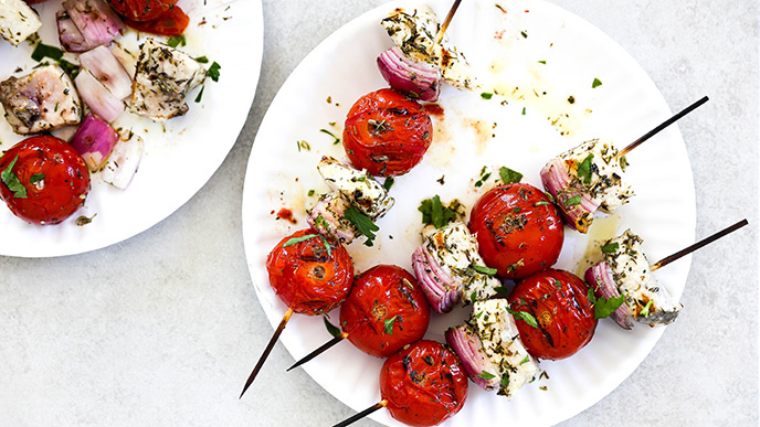 Sword Fish Kebabs with Tomatoes and Red Onion