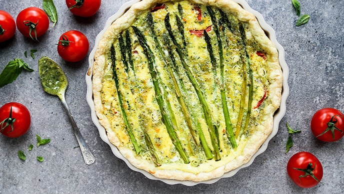 Tomato and Asparagus Quiche with Basil Pesto