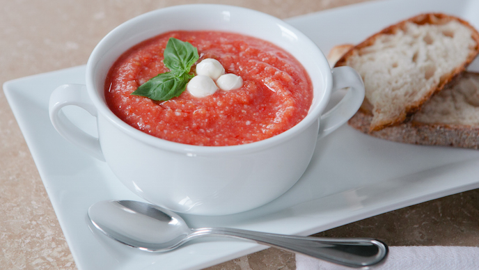 Tomato Rice Soup with Mozzarella Croutons