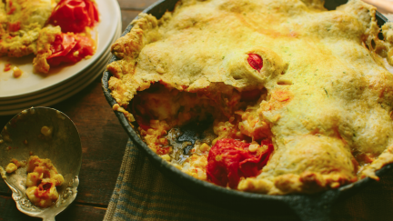 Skillet-Baked Tomato Cobbler with Herb Crust