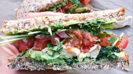 Avocado, Tomato Chicken Sandwich