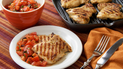 Grilled Chicken Thighs with Sassy Salsa