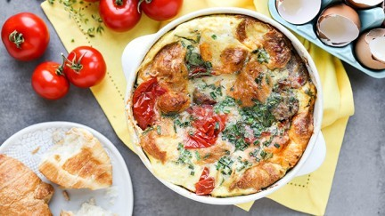 Croissant Breakfast Strata with Tomatoes and Sausage