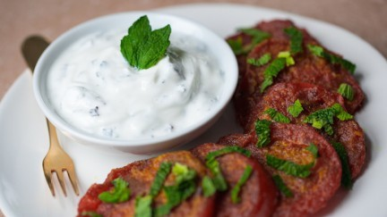 Curried Tomatoes with Mint Raita