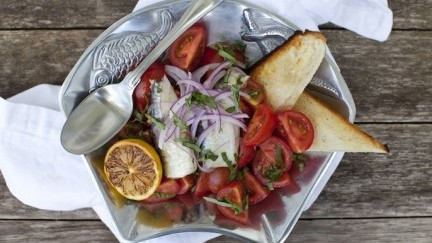 Spanish White Anchovy and Cocktail Tomato Salad