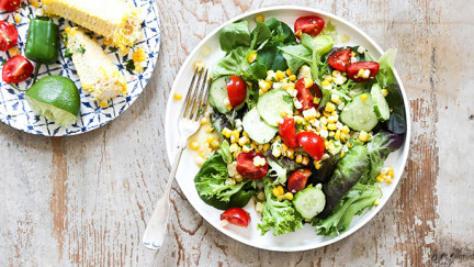 Late Summer Garden Salad with Spicy-Sweet-Lime Jalapeno Dressing