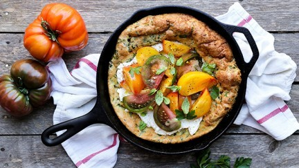 Savory Pancake with Fresh Tomatoes and Ricotta Cheese
