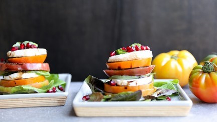 Tomato and Persimmon Caprese Salad Stacks