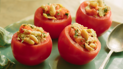 Beefsteak Tomato Cups with Tuna and White Beans