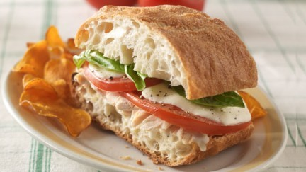 Chicken Sandwiches with Fresh  Mozzarella and Tomato Slices
