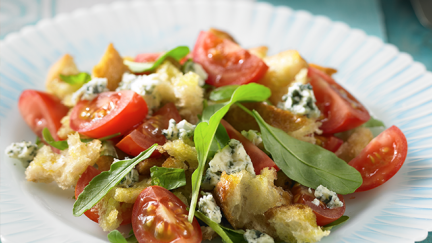 Tomato Bread Salad with Blue Cheese