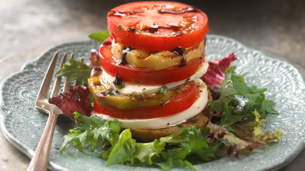 Tomato, Eggplant and Mozzarella Napoleons
