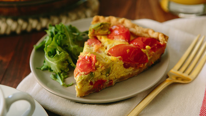Tomato and Avocado Quiche